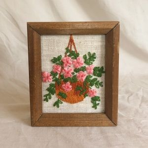 Pink flowers embroidered art